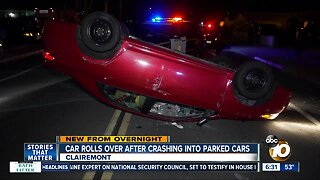 Car crashes into parked vehicles, rolls over on Clairemont street