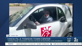 """Chick-fil-A at Towson Town Center says """"We're Open Baltimore!"""""""