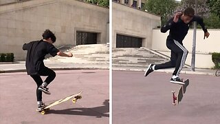 LIMBER LONGBOARDER SHOWS OFF HIS IMPRESSIVE DANCE MOVES WHILE SKATING AROUND THE WORLD