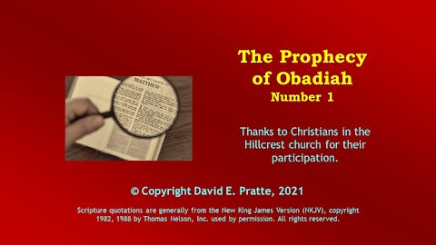 Video Bible Study: Book of Obadiah - 1