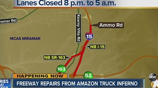 Freeway repairs from Amazon truck inferno - Video