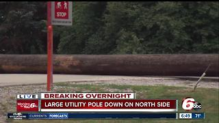 Traffic on 96th, Monon blocked by downed pole - Video