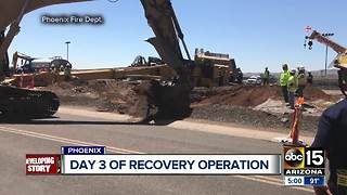 Recovery effort continues for missing worker after drilling rig falls near Sky Harbor - Video