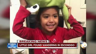 Little girl found wandering alone in Escondido - Video