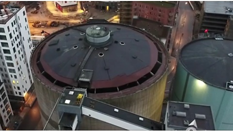 Drone Footage Captures The Demolition Process Of An Old Silo