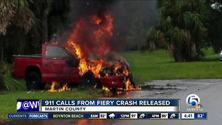 911 calls released after Martin County driver rescued from fiery crash - Video