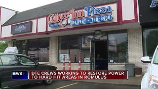 Romulus storm damage power outages - Video