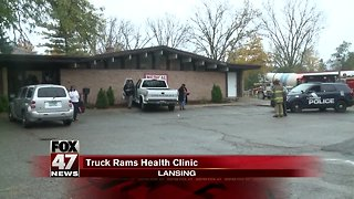 Truck slams into medical clinic