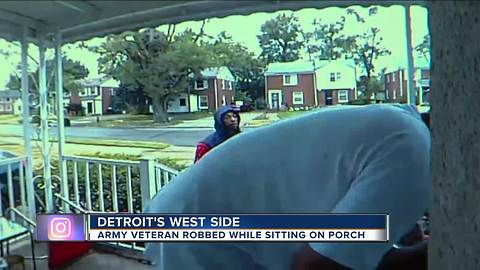 Army vet robbed while sitting on porch on Detroit's west side