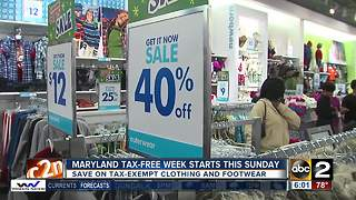 Maryland tax-free week starts this Sunday