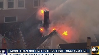 10-alarm fire reported in Cambridge, Massachusetts - Video