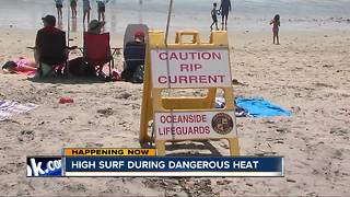 Beachgoers urged to look out for high surf amid heat wave - Video