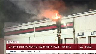 Fire crews respond to overnight fire at a Tire Kingdom
