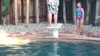 Dad's Backflip Pool Diving Fail - Video