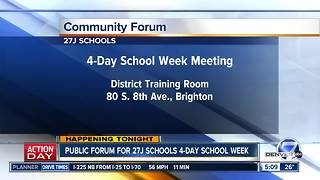 27J Schools hosting community meeting tonight on 4-day school week proposal - Video