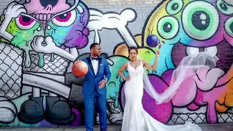 Bride & Groom play quick game of basketball before their wedding