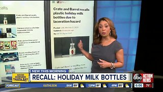 Crate and Barrel recalls plastic holiday milk bottles due to laceration hazard