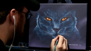 Acrylic Halloween Painting of a Black Cat - Time Lapse - Artist Timothy Stanford