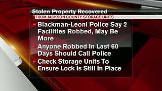 Property stolen from storage units recovered - Video