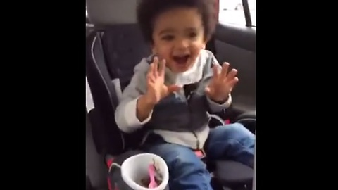 Toddler's dance moves fueled by ice cream and 80's music