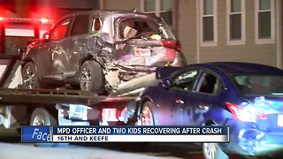 MPD officer, two kids recovering after crash