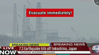 7.3 earthquake hits off Fukushima, Japan - Video