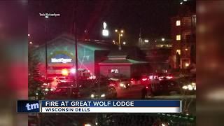 Guests evacuate after fire in room at Great Wolf Lodge in Wisconsin Dells - Video