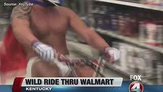 Men ride minibikes through Walmart