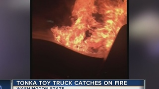 Toy Tonka truck sparks fire in real pickup truck - Video