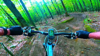 Mountain biker takes us on high speed thrill ride through beautiful forest