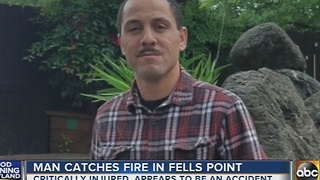 Man catches on fire in Fells Point - Video