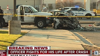 NLVPD officer critically injured in crash near MLK, Carey - Video