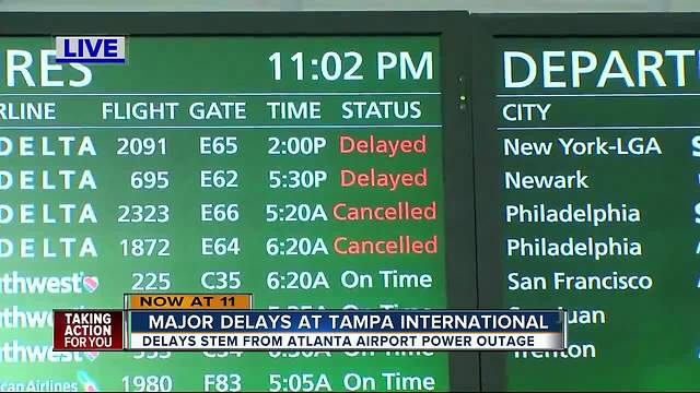 Power outage at Atlanta airport causes flight delays in Tampa
