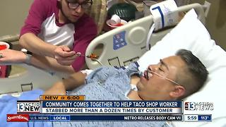 Community rallies behind taco cook stabbed by customer - Video
