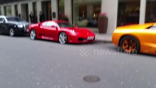 Supercars lined up outside the Mayfair Hotel in London - Video
