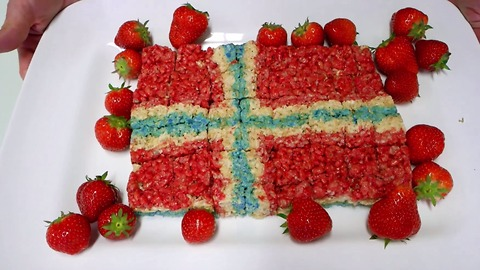 Norway flag cake made from Rice Krispie's Treats