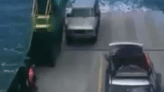 Unsecured Car Lost at Sea After Rolling Off Ferry - Video