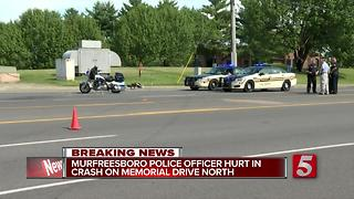 Murfreesboro Officer Hurt In Crash - Video