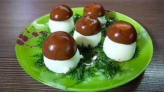 Tea Color Eggs Trick: Salad Recipe Amazing Mushrooms - Video