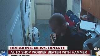 Auto shop worker beaten with hammer - Video