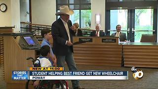 Student helping best friend get new wheelchair - Video