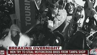Men try to steal motocross bikes from Tampa shop - Video