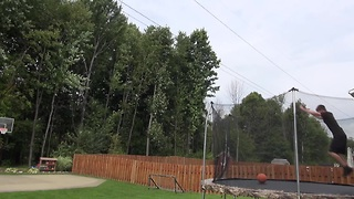 60-foot front-flip trampoline trick shot - Video