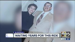 90-year-old widow rides restored car in honor of late husband - Video