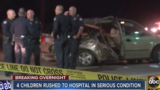 Four children in very serious condition after west Phoenix crash Friday night - Video