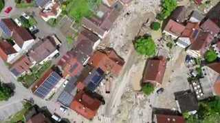 Drone Video Shows Devastating Flood in Braunsbach - Video