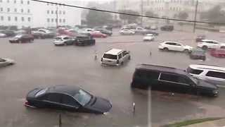 Cars Flooded Outside Alabama State House in Montgomery - Video