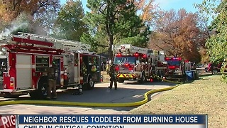 Neighbor rescues Toddler From Burning Home - Video