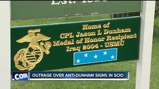 "Outrage over ""Jason Dunham -No Hero"" signs in Scio"