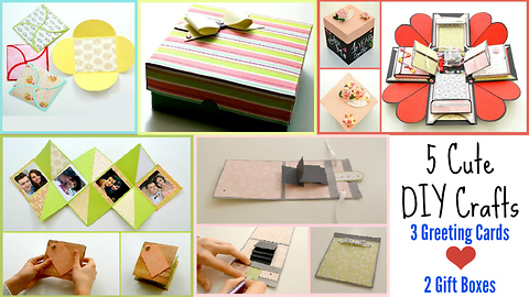 5 DIY Paper Crafts for Valentines Day ! 3 Easy Greeting cards 1 Exploding Box 1 Cute Gift Box !